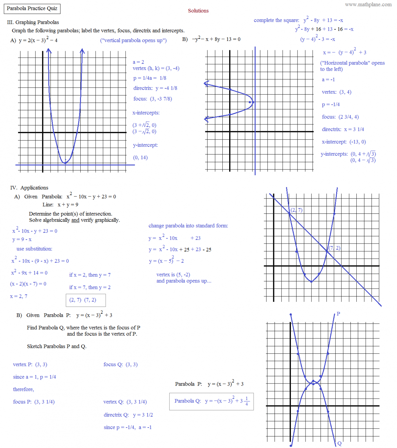 worksheet Parabolas Worksheet math plane conics ii hyperbolas and parabolas parabola practice quiz 2 solutions