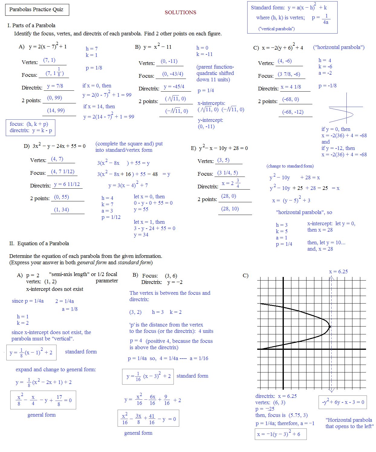 worksheet Conic Sections Parabola Worksheet math plane conics ii hyperbolas and parabolas practice quiz solutions