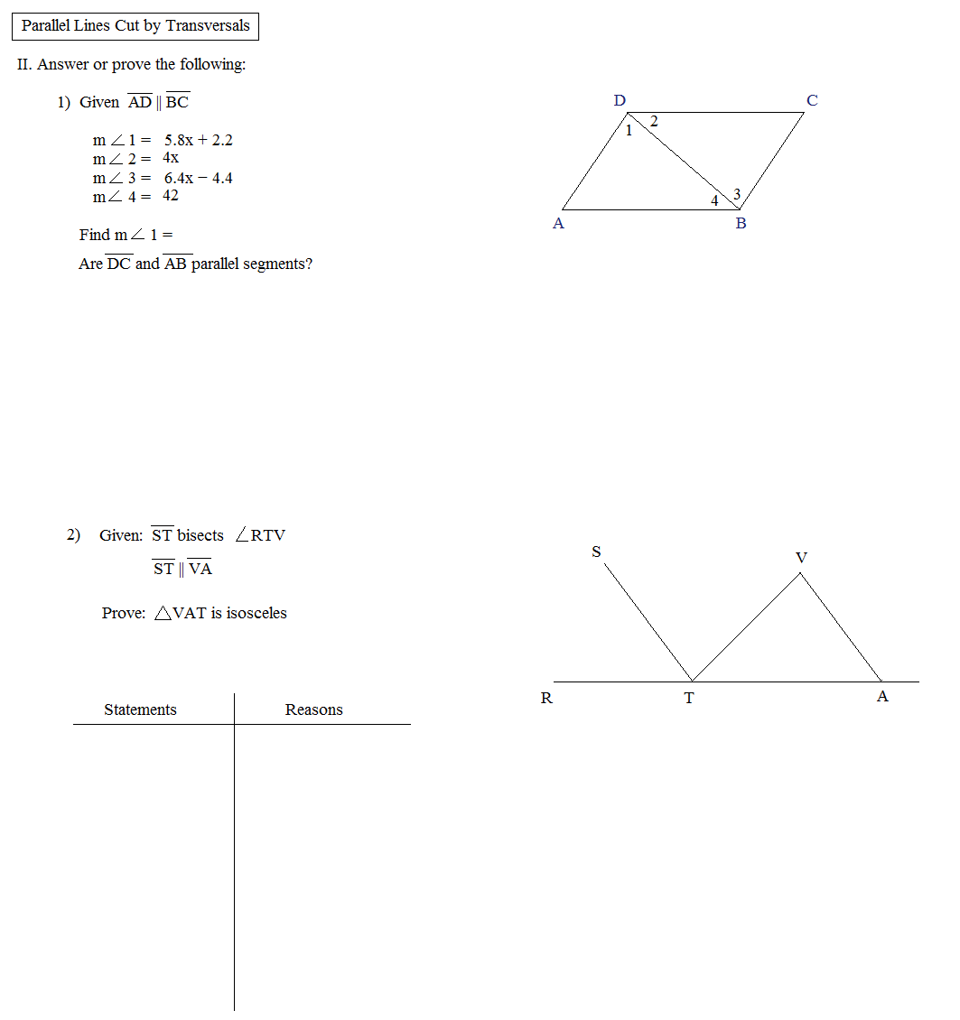 Math Plane Parallel Lines Cut by Transversals – Parallel Lines Cut by a Transversal Worksheet