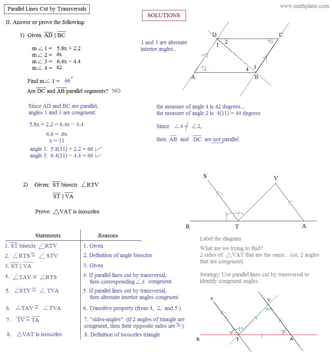 Parallel Lines Cut By A Transversal Worksheet Free Worksheets
