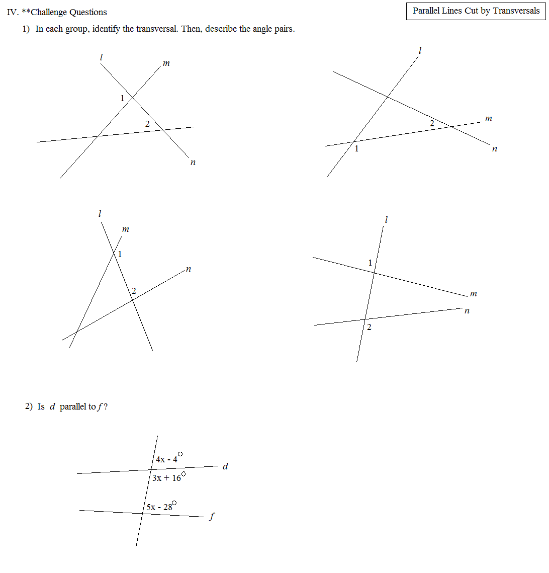 Math Plane - Parallel Lines Cut by Transversals