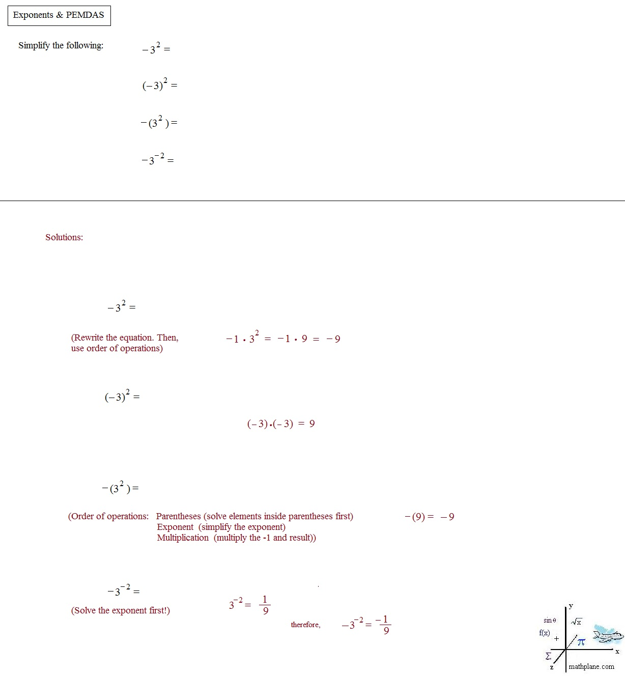 Math Plane - exponents u0026 Roots AND Order of Operations