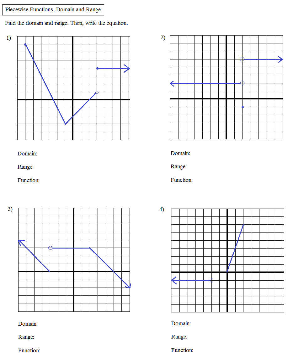 Math Plane Algebra Review 2 – Piecewise Functions Worksheet with Answers