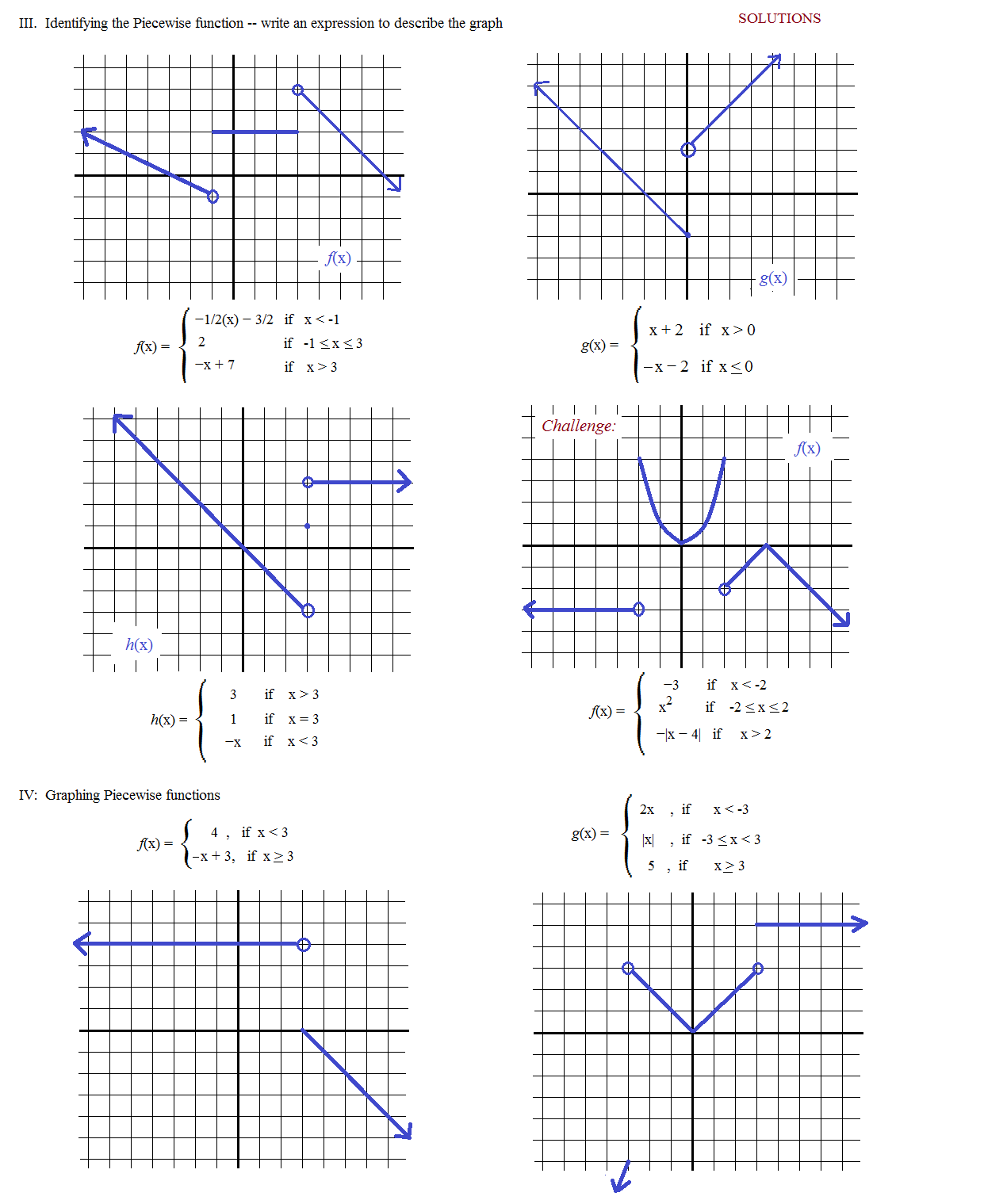 Math Plane Piecewise Functions fx Notation – Piecewise Function Worksheet