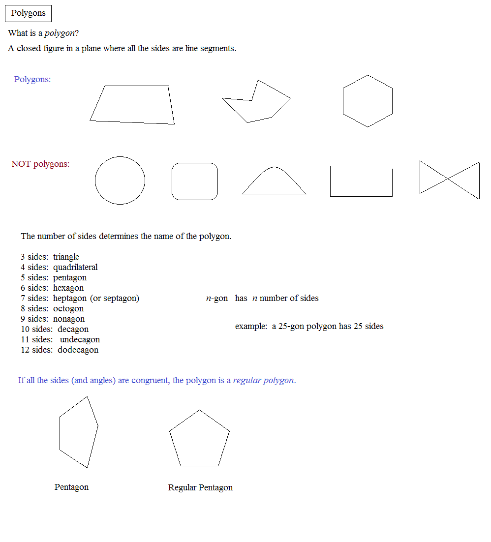 Math plane polygons - Definition of interior and exterior angles ...