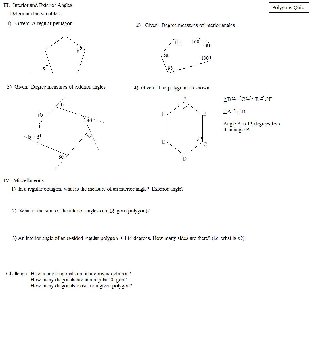 Math plane polygons - Sum of exterior angles of polygon ...