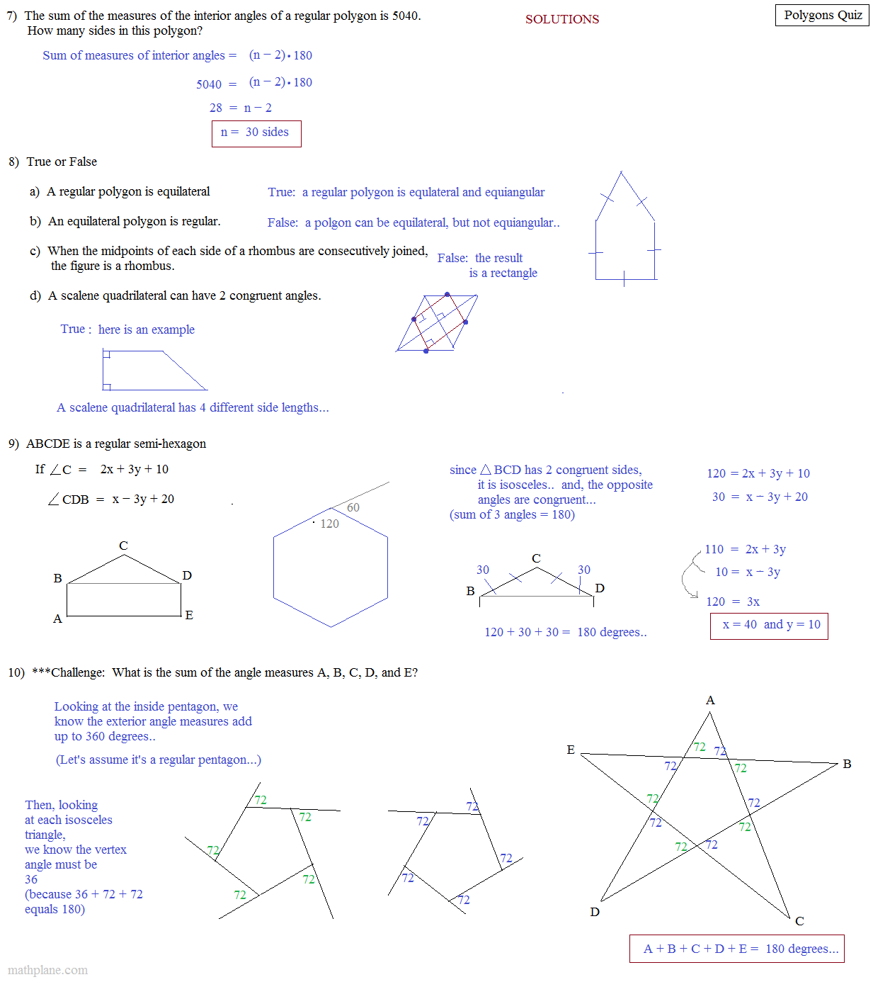 Find Sum Of Exterior Angles Of A Triangle: Math Plane