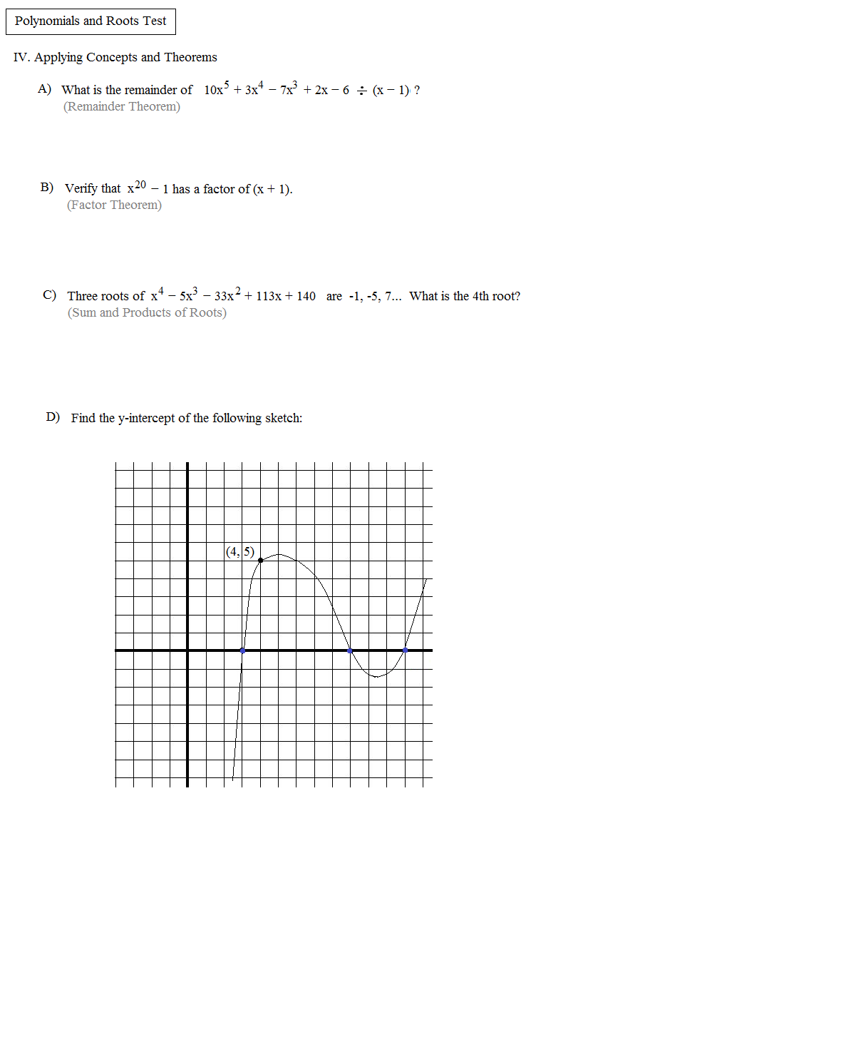 Uncategorized Classifying Polynomials Worksheet math plane polynomials factors roots and theorems introduction test 3