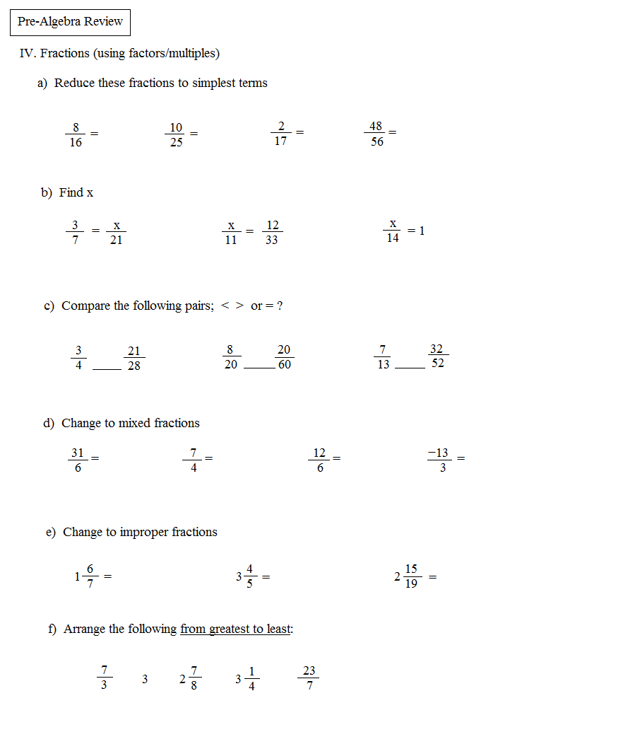 Math Plane PreAlgebra Review 1 – Pre Algebra Review Worksheet