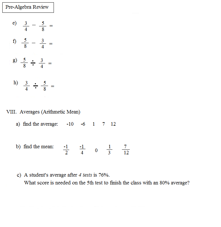 Worksheet Pre Algebra Review Worksheets math plane pre algebra review 1 test 4