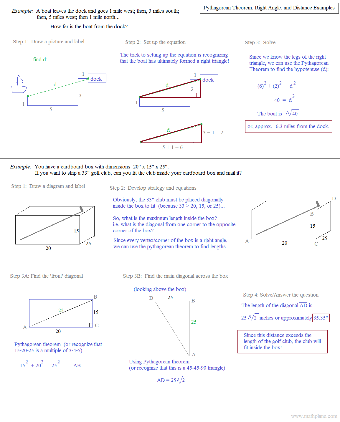 worksheet Pythagorean Theorem Puzzle Worksheet math plane pythagorean theorem distance and examples 2