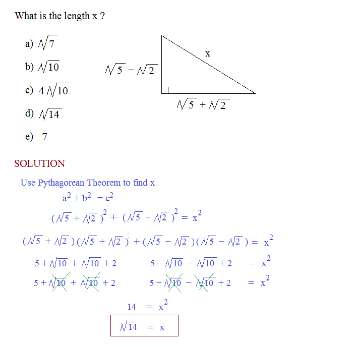 pythagorean theorem radical question solution