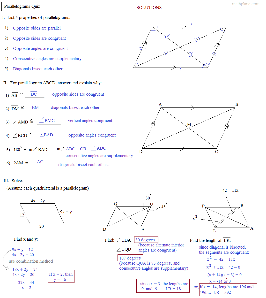 Worksheets Parallelograms Worksheet math plane parallelogram parking space quadrilaterals parallelograms quiz answers