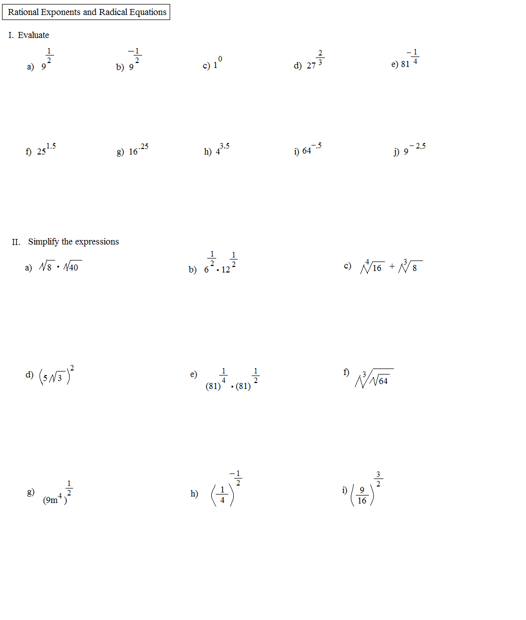 Math Plane Rational Exponents and Radical Equations – Operations with Radical Expressions Worksheet Answers