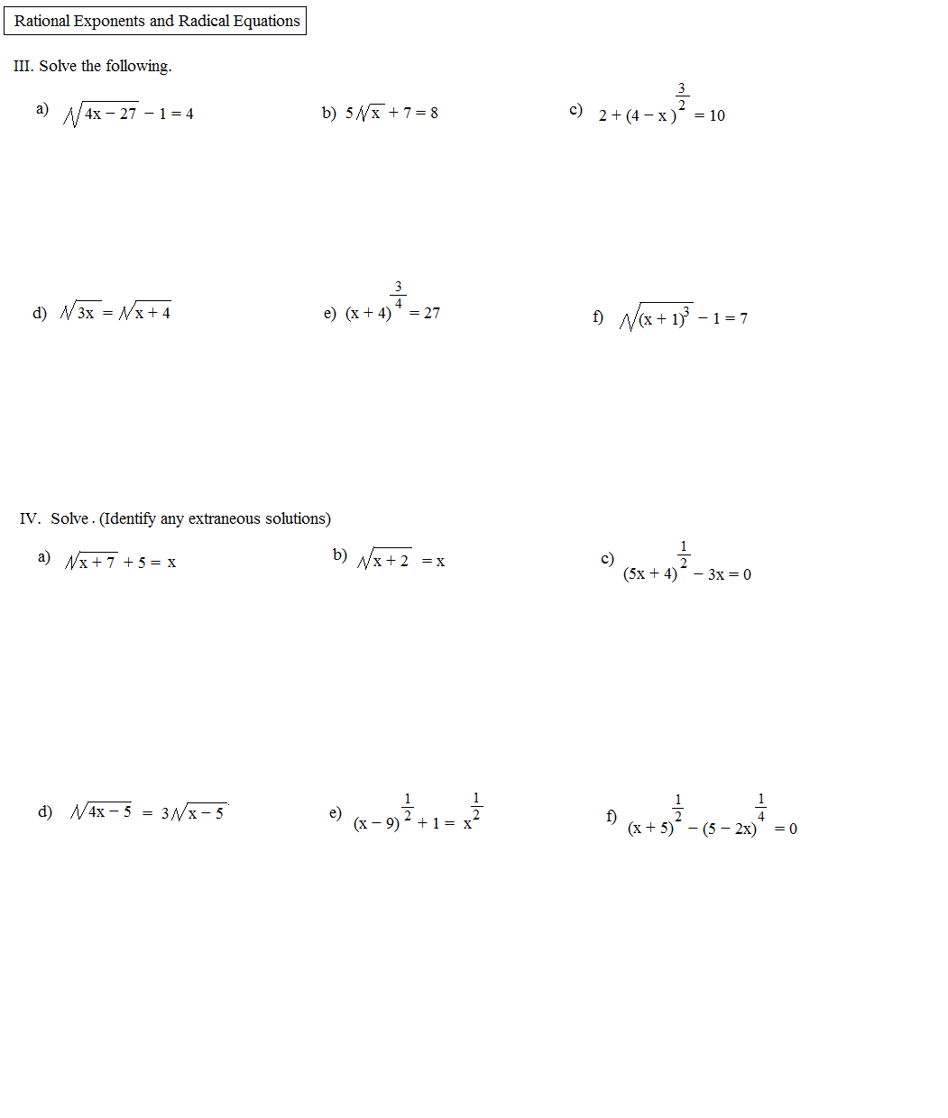 Math Plane Rational Exponents and Radical Equations – Fractional Exponents Worksheet