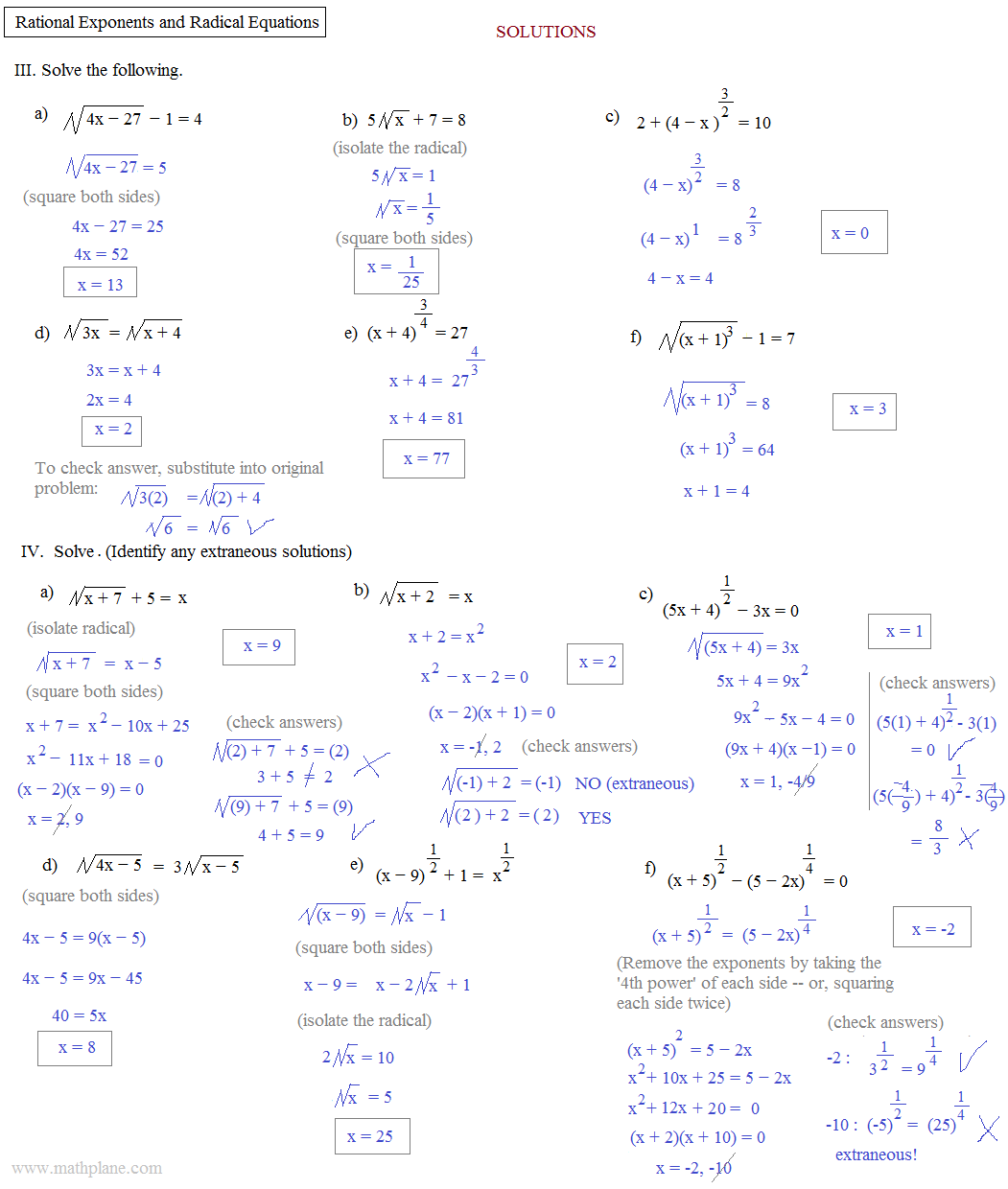Printables Radicals And Rational Exponents Worksheet rational exponents and radicals worksheet davezan math plane radical equations