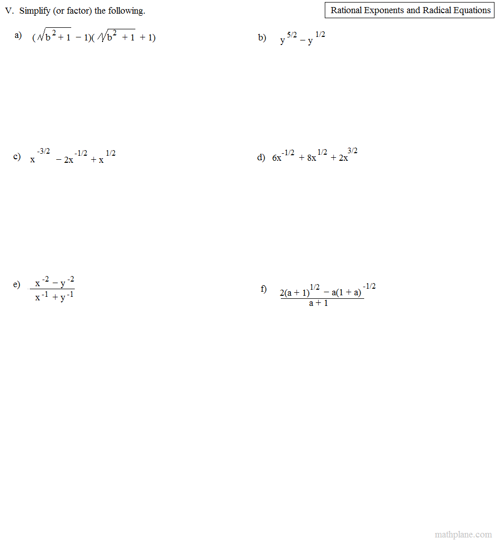 worksheet Radical Equations Worksheet math plane rational exponents and radical equations exercise 2 factoring