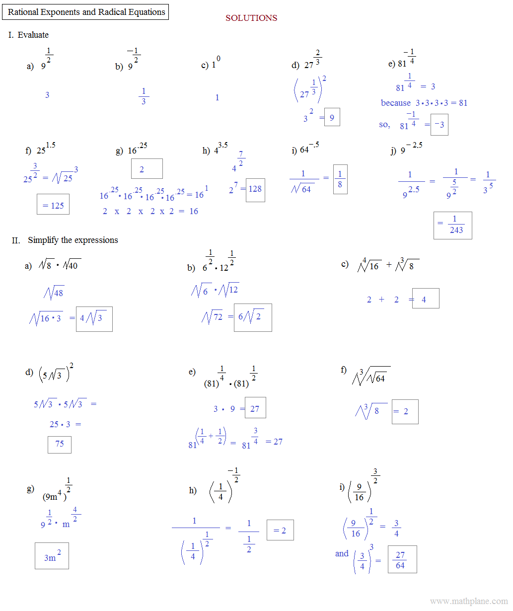 Math Worksheets Fractional Exponents - rational exponents and ...