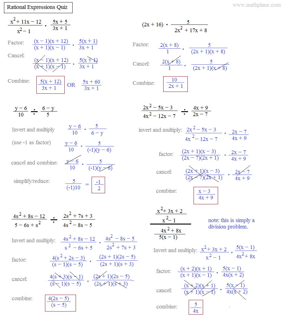 Simplifying Rational Expressions Worksheet With Answers Free ...