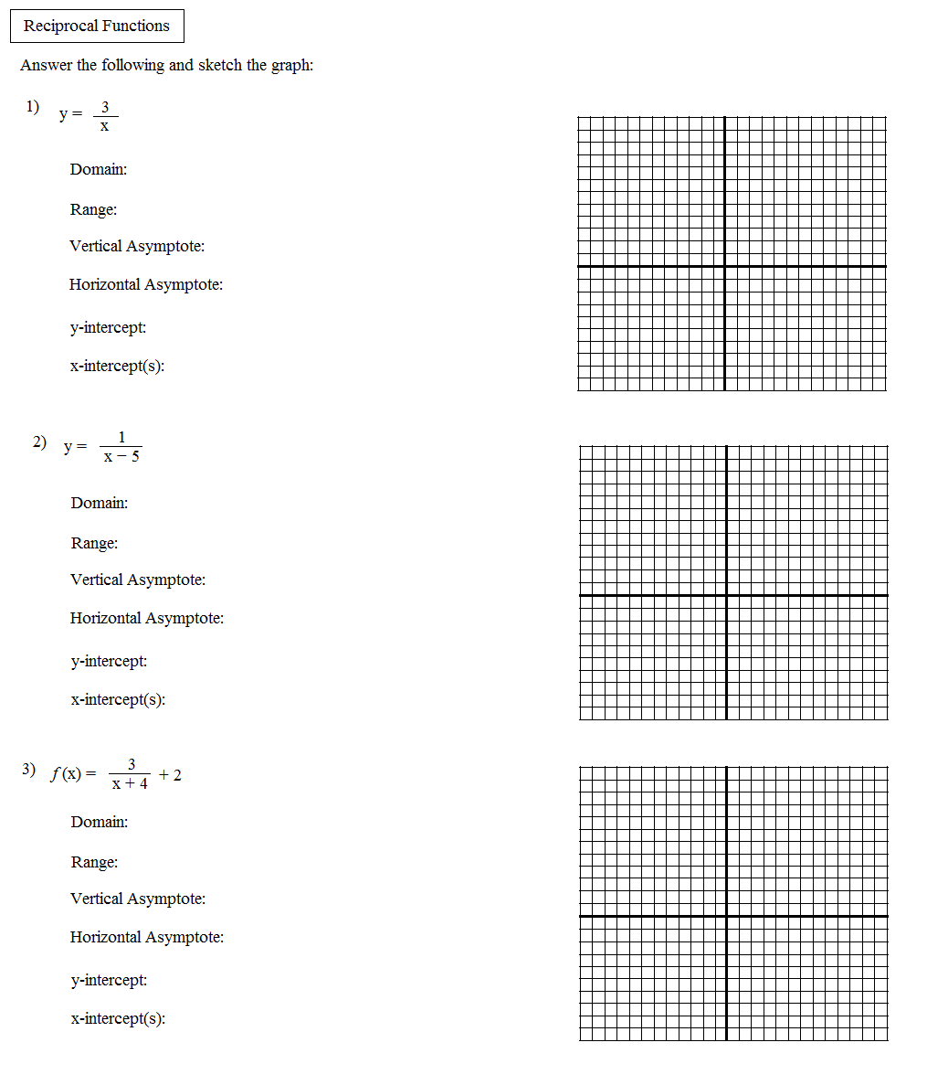 Reciprocal trig functions worksheet pdf