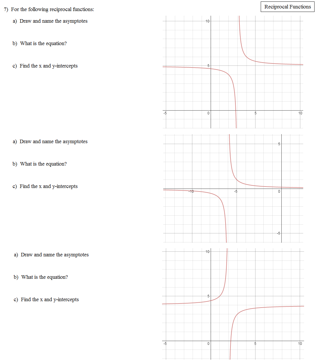 math plane - reciprocal functions