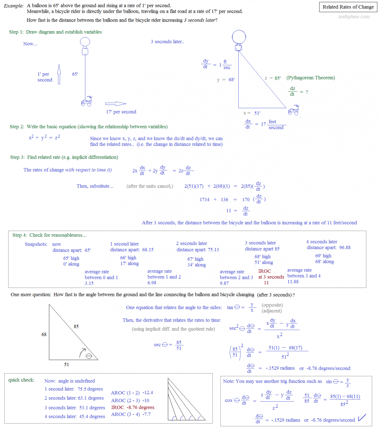Calculus related rates worksheet with solutions