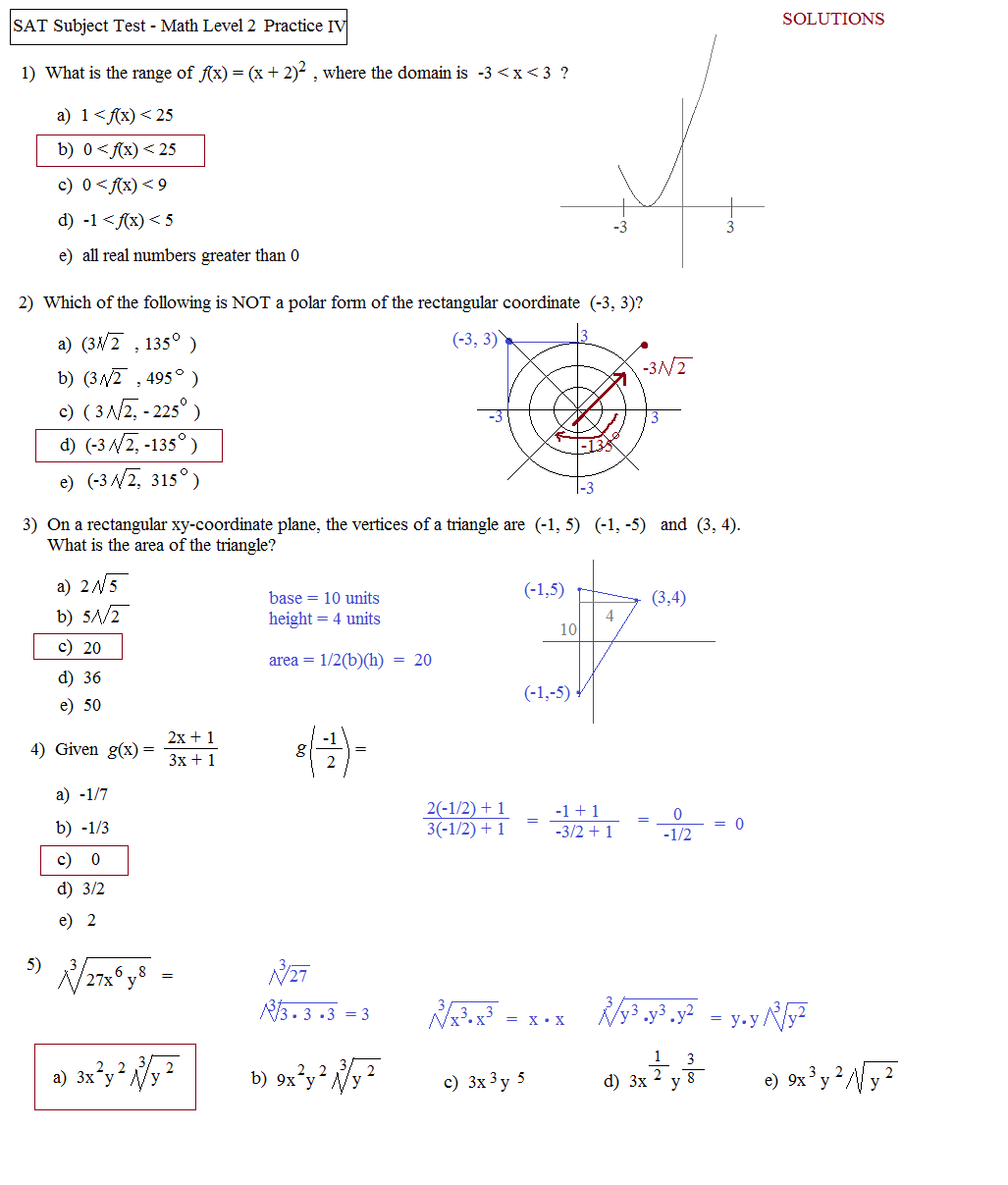 Math Plane SAT Math Subject Test Level 2Practice Test D – Sat Math Prep Worksheets