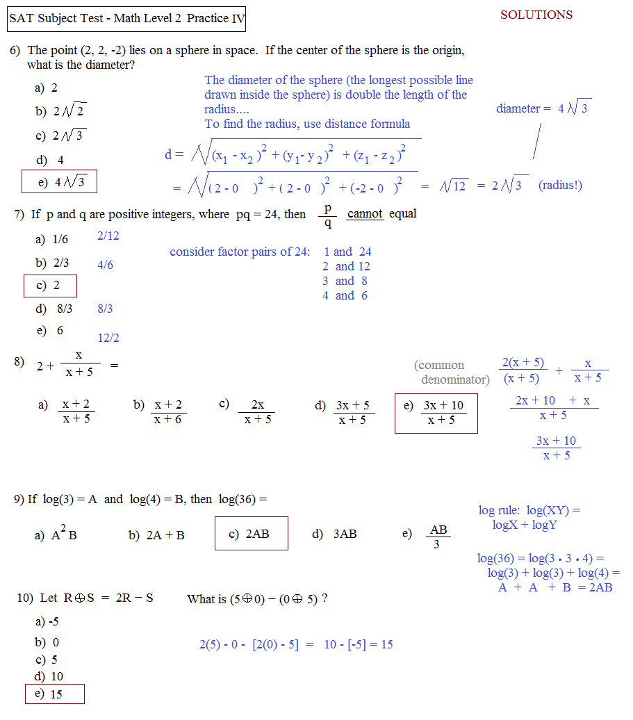 ... sat math level 2 practice test D b solutions ...