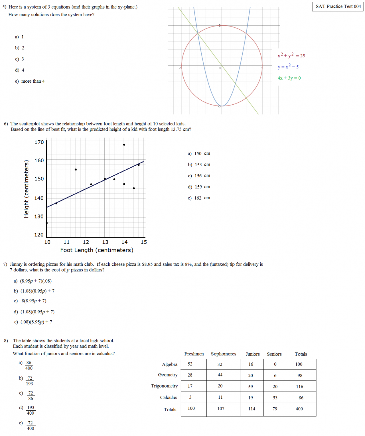 Math plane sat practice test 004 redesigned format sat practice 004 revised page 2 ccuart Image collections
