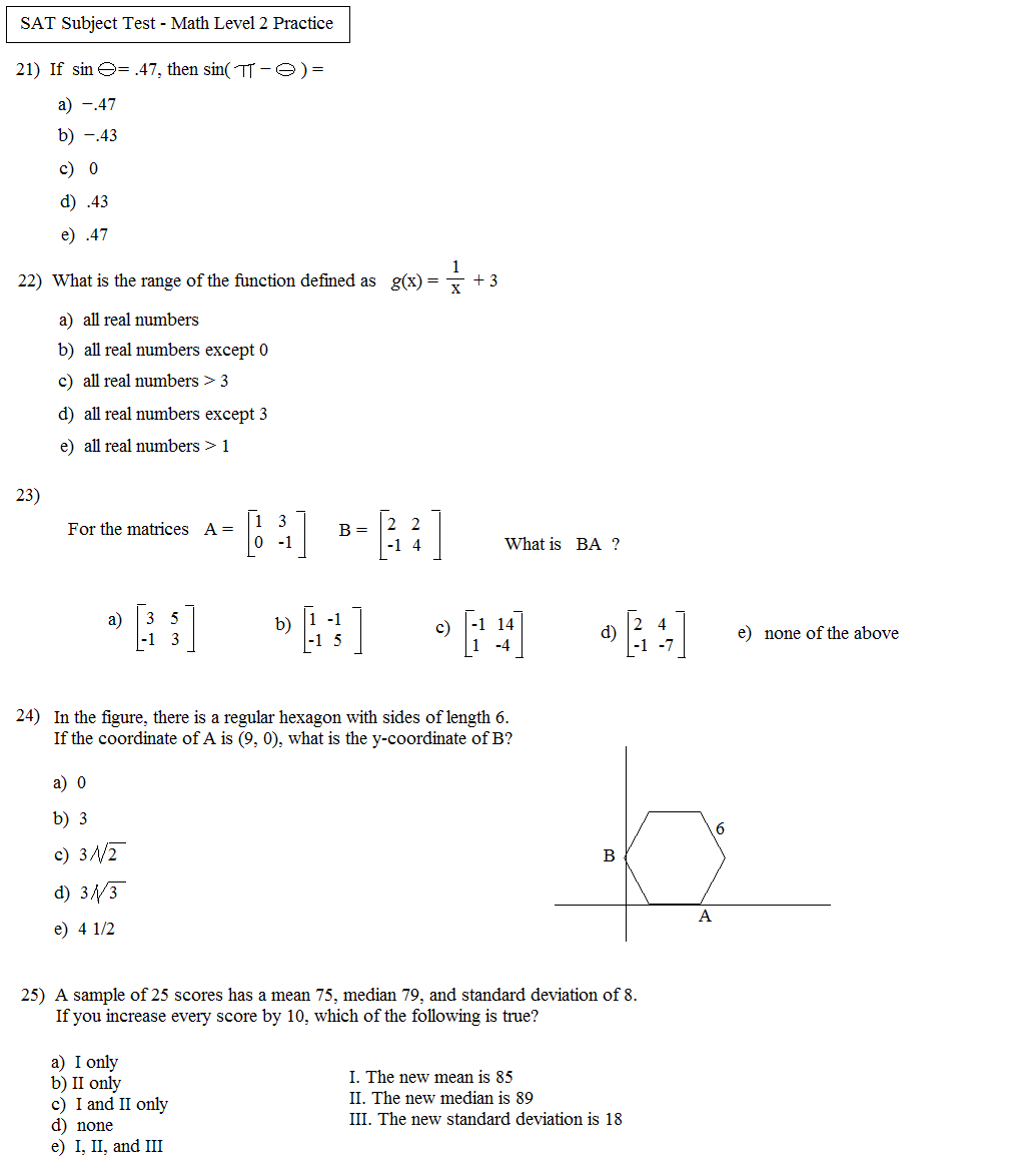 Math Plane SAT Subject Test Math Level 2 Practice Test A – Sat Math Prep Worksheets