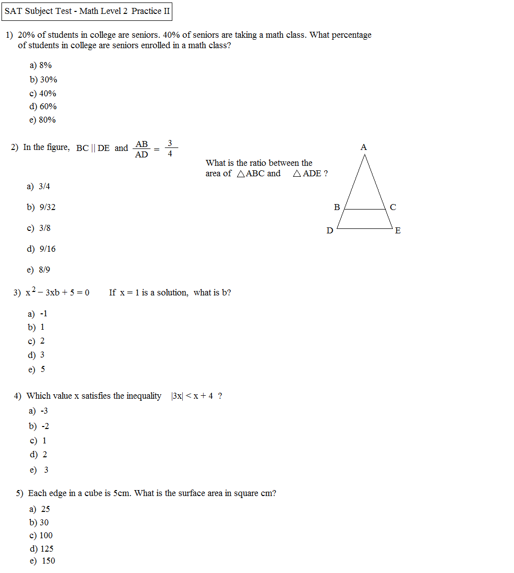 {Math Plane SAT Math Level 2 Practice Test B – Sat Math Prep Worksheets