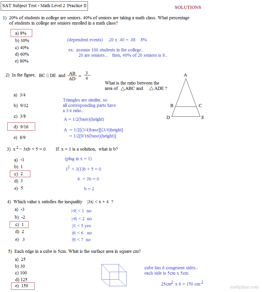Printables Sat Practice Worksheets math plane sat level 2 practice test b subject 2a solutions