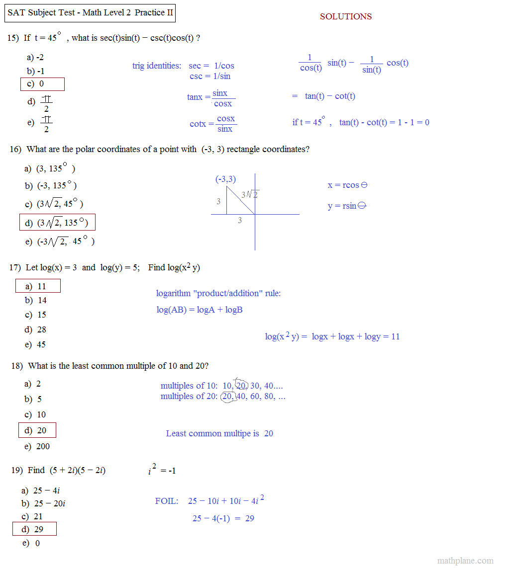 Math Plane SAT Math Level 2 Practice Test B – Maths Level 2 Worksheets