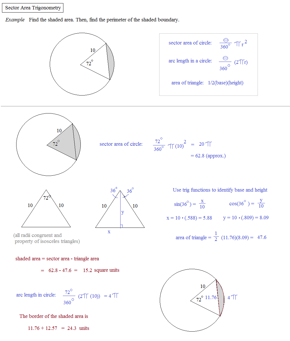 Worksheets Arc Length And Sector Area Worksheet math plane arc length sector area using radians or degrees trig example