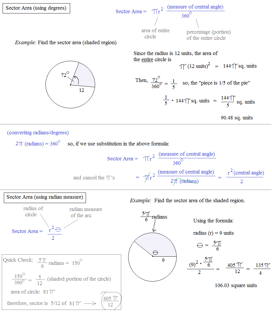 worksheet Area Of Sector Worksheet math plane arc length sector area using radians or degrees
