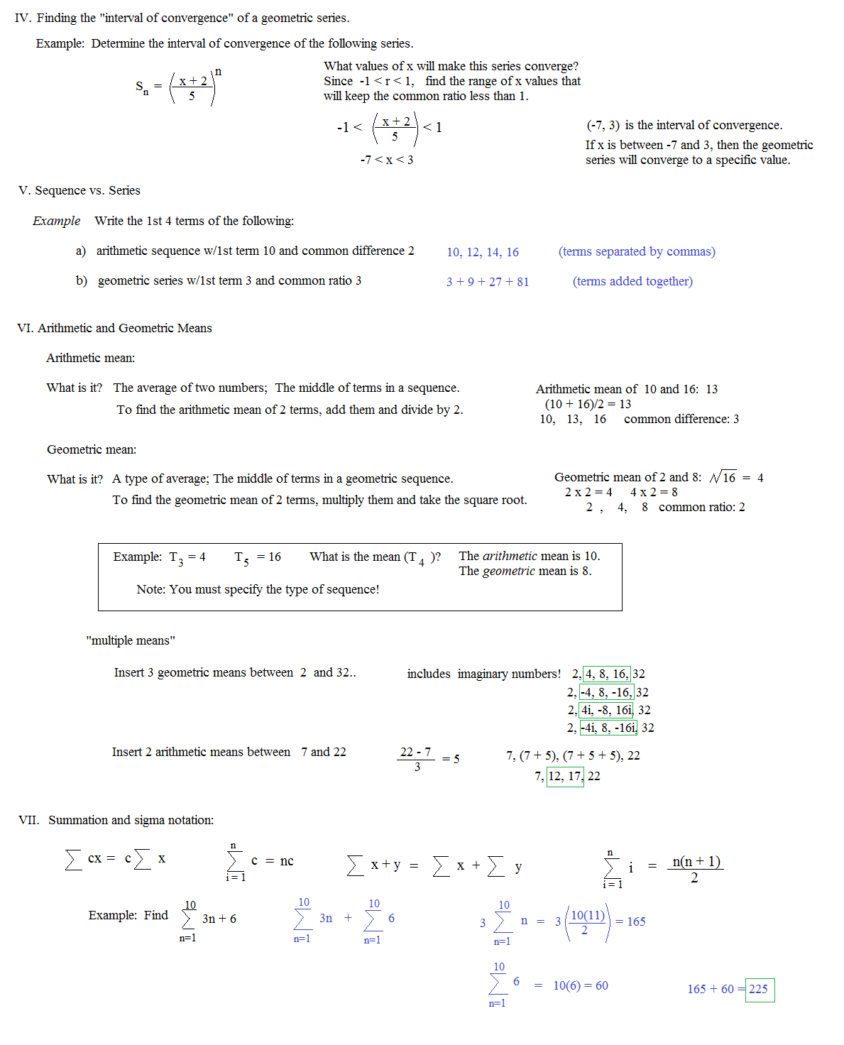Worksheets Sequences And Series Worksheets math plane sequences and series i notes 6