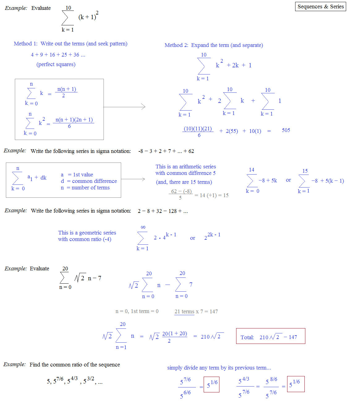 worksheet Sequences And Series Review Worksheet math plane sequences series ii examples