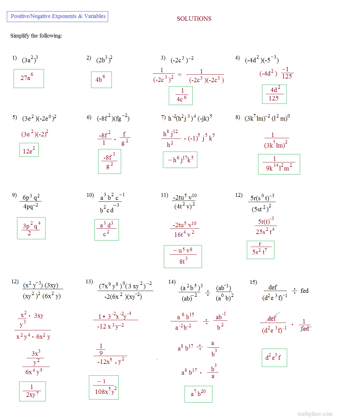 Workbooks simplifying polynomials worksheets : Math Plane - Simplifying Negative Exponents and Variables