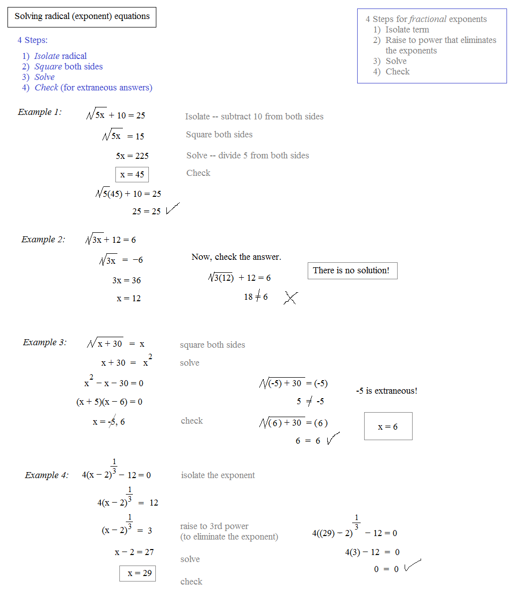 Math Plane - Rational Exponents and Radical Equations