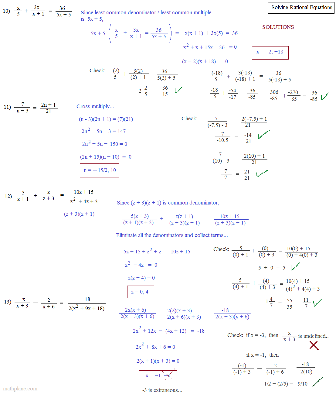 Math Plane Solving Rational Equations – Solving Rational Equations Worksheet