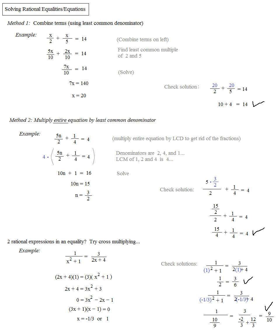 Can you solve equations with rational expressions? Check out the notes ...