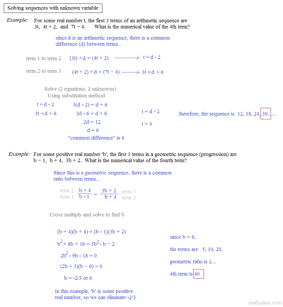 Free Worksheet Arithmetic Sequences Worksheet math plane sequences series iii with unknown variable
