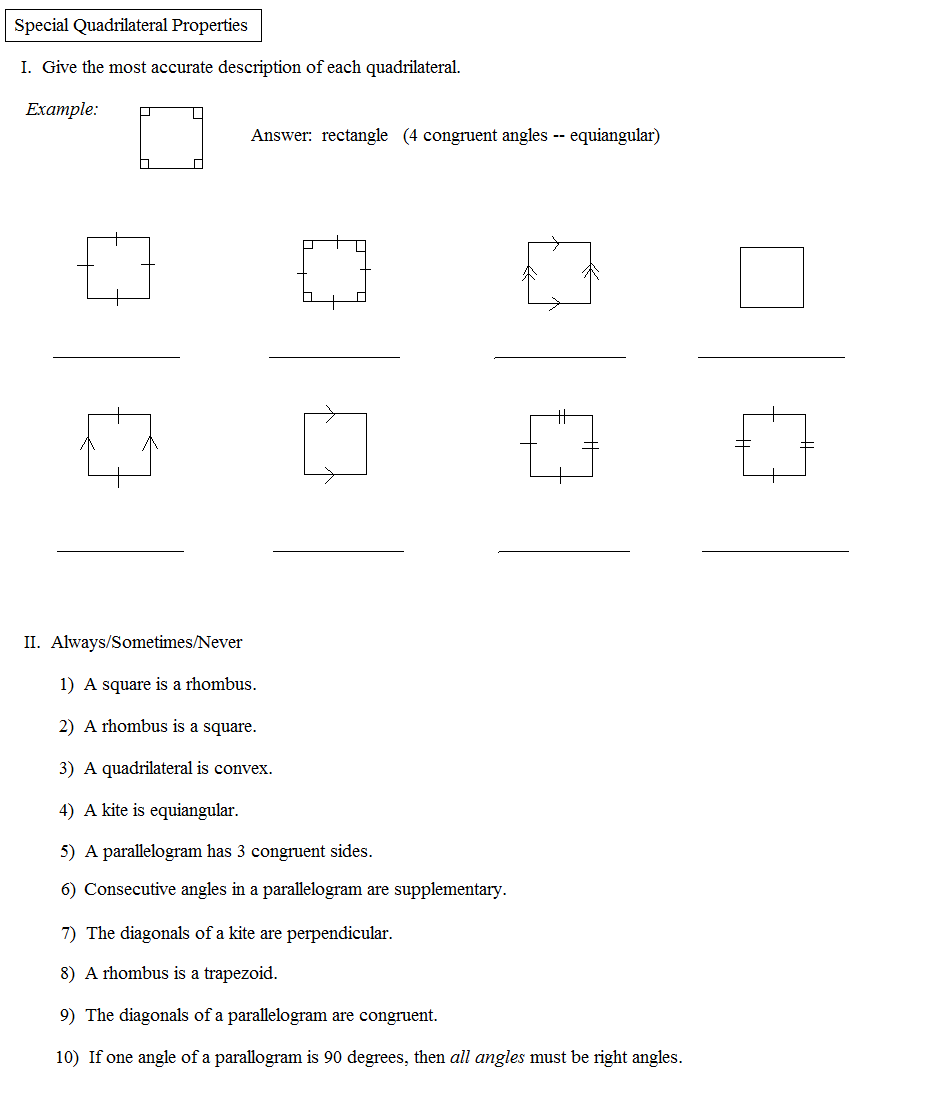worksheet identifying quadrilaterals discoverymuseumwv worksheets for elementary school free. Black Bedroom Furniture Sets. Home Design Ideas