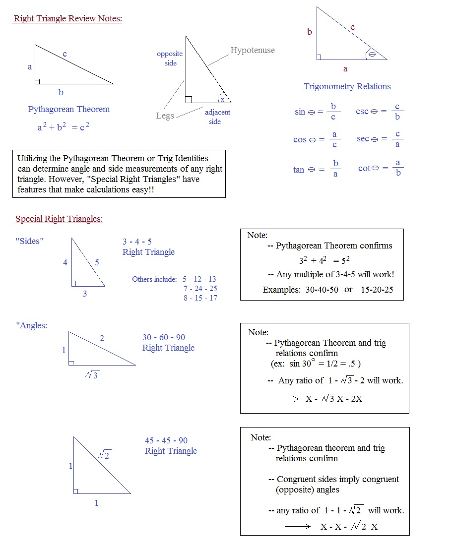 Worksheets Special Right Triangle Worksheet math plane right triangle review special notes