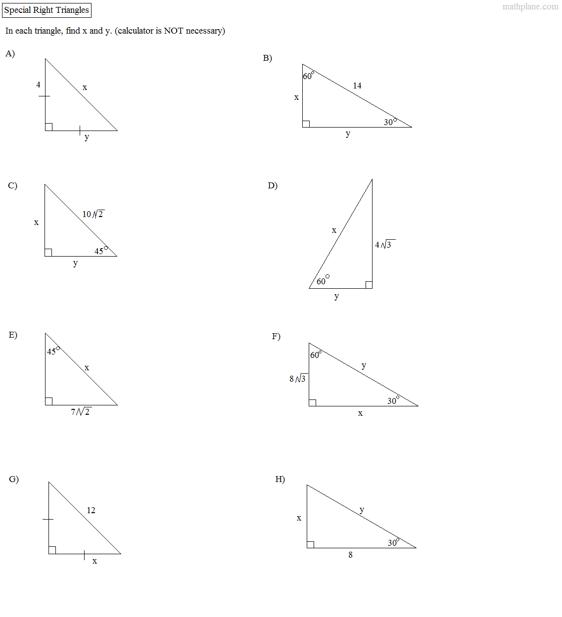 {Math Plane Right Triangle Review – Special Right Triangles Worksheet 30-60-90 Answers