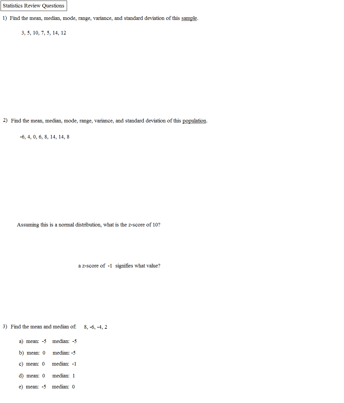 Probability And Counting Questions; Stats Review Math Plane Statistics  Review 1 How To Calculate