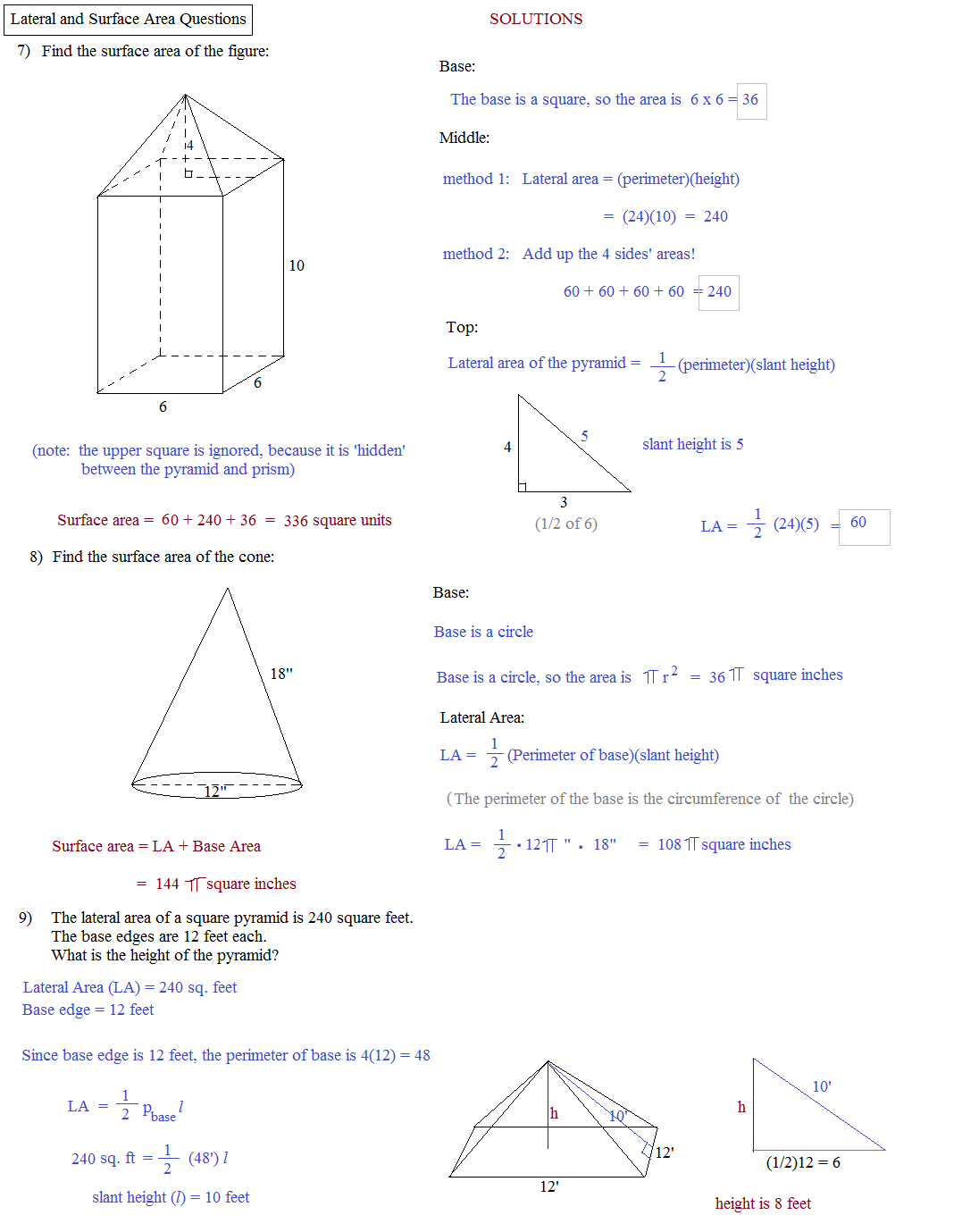 Math Plane Lateral And Surface Area – Surface Area Worksheet Pdf