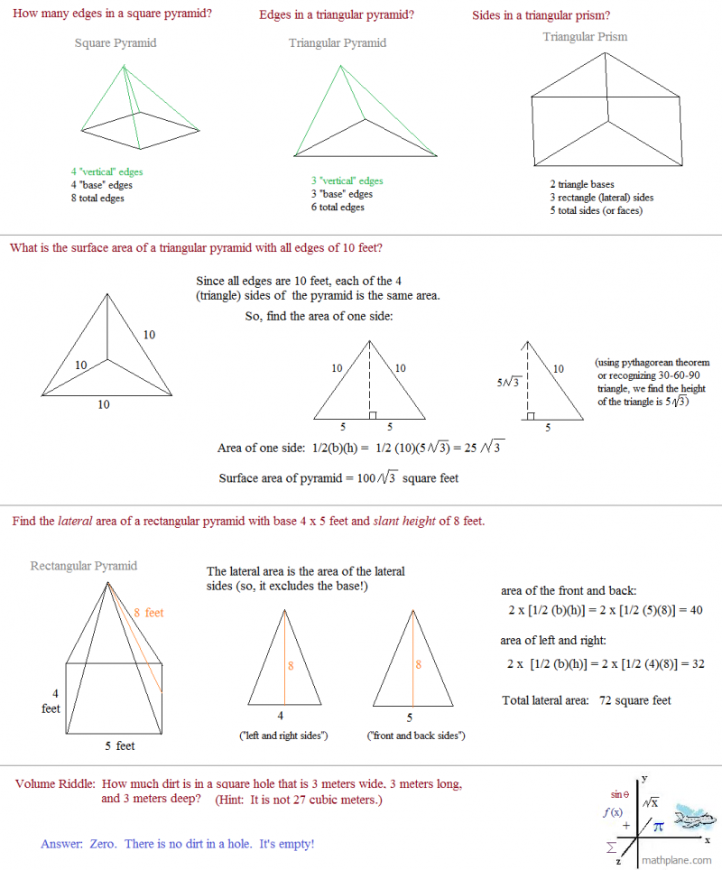 Free Worksheets geometry surface area worksheets : Math Plane - spare parts 7