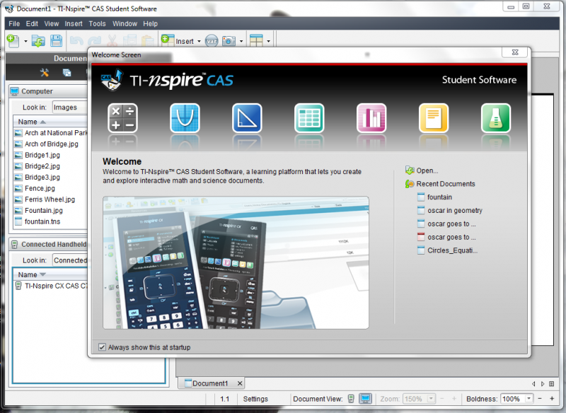 ti nspire software welcome screen