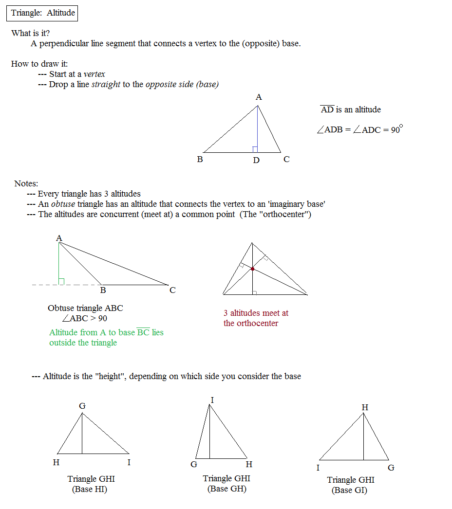 Math Plane - Triangle Parts: Median, Altitude, Bisectors
